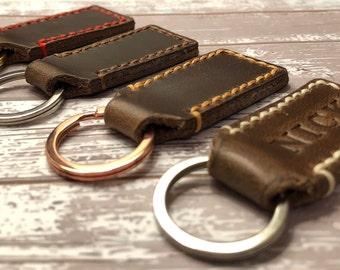 Personalized Keychain   Keychain for Men   Custom Leather Keychain   Womens Key fob   Personalized Brown Leather Key Chain   Mens Custom  