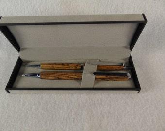 Exotic wood pen and pencil set