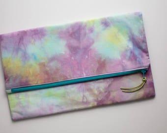 Clutch Purse - Hand Dyed - Clutch Bag - Evening Clutch - Zipper Clutch - Foldover Clutch - Unique Handbag - Oversized Clutch - Turquoise