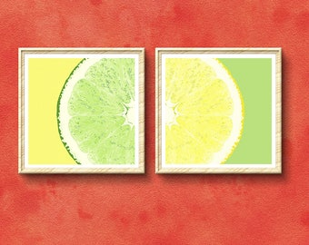 Lemon and Lime art print set, yellow and green decor, tropical fruit wall art, square artwork, giclee print, giclee canvas, summer art