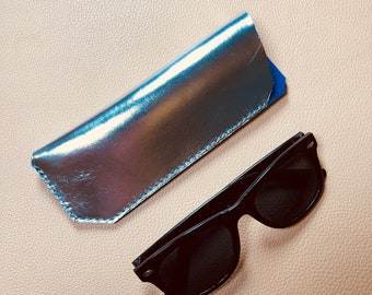 Leather Glasses Case, Spectacle Case, Sunglasses case, Eyeglass case, Sunglass Case, SILVER - NAVY