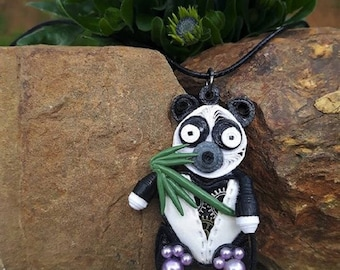 Necklace made of polymer clay steampunk quilled panda.