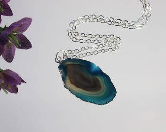 Small Blue Agate Necklace, Agate Pendant, Boho Jewelry, Boho Necklace, Layering Necklace, Natural Agate Slice Jewelry, APS220