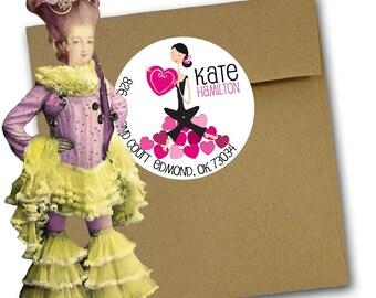 Valentine Round Return Address Labels, Yoga Valentine Return Address Labels or Gift Stickers