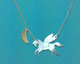Pegasus - silver necklace with star engraving and 9ct gold moon