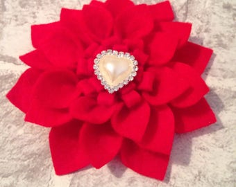 Valentines hair clip, valentines barrette, red hair clip, poinsettia accessory, felt flower, bridal hair clip, bridesmaid hair clip