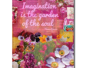 Imagination is the garden of the soul, mixed media art, botanical print, inspirational quote, Botanical Art