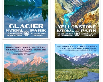 Rocky Mountain Collection - Set of 4 National Park Posters -- Glacier, Yellowstone, Grand Teton & Rocky Mountain National Park -- Signed