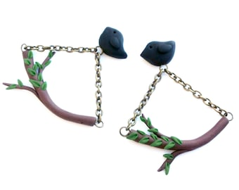 Polymer Clay Bird and Branch Earrings, Polymer Clay Jewellery, Fimo Jewelery, Blackbirds, Nature Inspired Jewelry, One of a Kind, OOAK