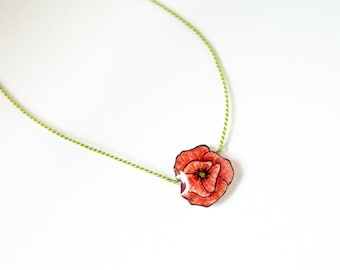 Poppy Necklace, small poppy pendant, red flower jewelry, remembrance day poppy, silk cord necklace