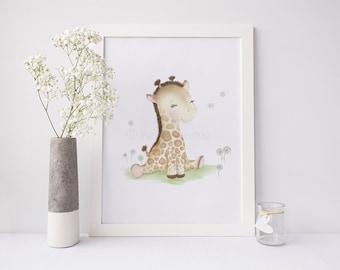 Giraffe Nursery Art - Baby Giraffe - Giraffe Baby Shower - Giraffe Nursery Decor - Nursery Art Prints - Safari Print - Sweet Cheeks Images