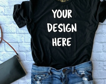 custom logo shirt - personalized tee - off the shoulder tee - logo shirt - scoop neck tee