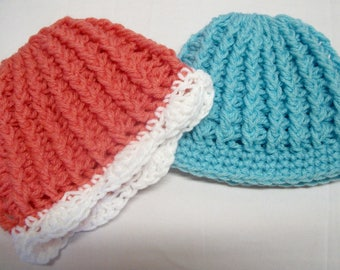 PATTERN ONLY: Newborn Crochet Ribbed Hat, Baby Ribbed Hat, Easy Baby Hat, Instant Download Baby Hat Pattern for Baby Boy or Baby Girl