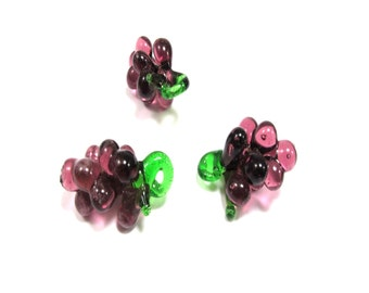Fabulous grape beads-eye candy, Lampwork Glass, 37.5mm, Glass Grapes Charms/3pcs