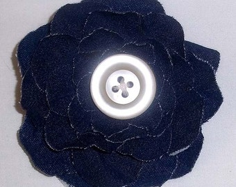 Upcycled Denim Shabby Chic Flower Pin With White Pearlized Button F-11