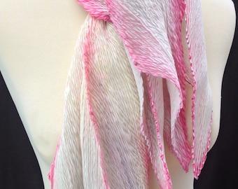 Shibori pleated silk scarf - twisted pleat - shell
