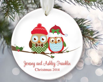 Owl couple Personalized Family Christmas Ornament Owl Family of 2 Owls Ornament Christmas Gift Custom Holiday Gift Name & Date OR249