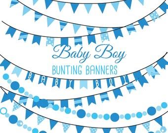 Baby Boy bunting banners Digital clip art
