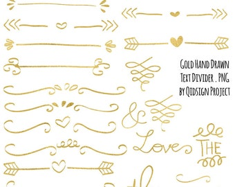 Gold hand drawn doodle text divider swirly clip art for scrapbooking wedding invitation commercial use instant download