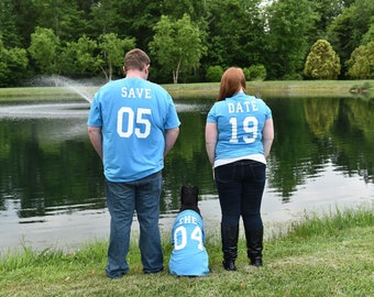 Save the Date Jersey like T-shirts, Wedding, engagement, couples shirts, family
