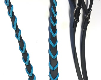 Paracord laced barrel reins black beta biothane, turquoise reins, black reins