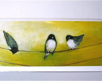 Skinny Card - Three Birds - 4 x 9 Blank Note Card by Jenlo