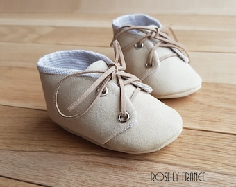 Leather, linen and cotton baby shoes