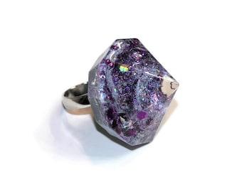 Huge Diamond Spike Ring Oversized Galaxy Statement Ring Purple Silver Holographic Hardcore Punk Rock Ring