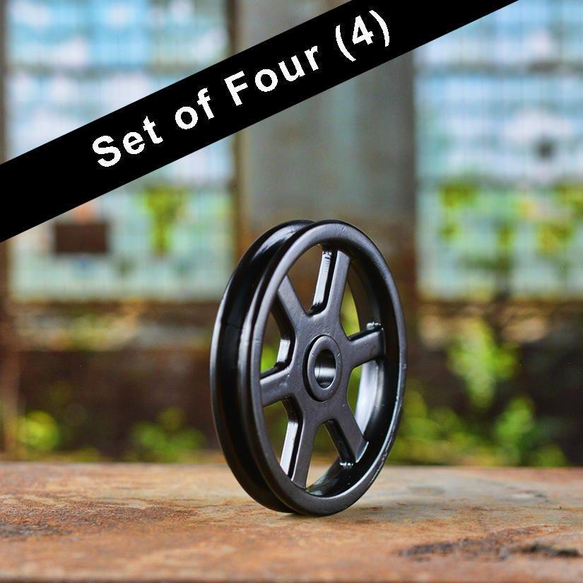 Set of 4 Black Pulley Wheels Barn Door Hardware Iron