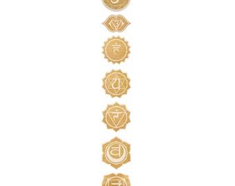 Chakra Set Engraved Wood Signs - Spiritual Wall Art, Wood Art, Chakra Symbol, Chakra Art, Chakra Sign, Sahasrara Sign, Lotus Flower Symbol