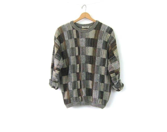 Men's Brown & Gray Sweater 90s Pullover Knit Crewneck Sweater Preppy Prep Vintage Boyfriend Sweater Fall Colors Unisex size Medium