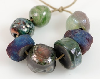 Organic mix...Raku, Artisan, beads