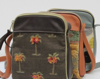 SMALL SHOULDER BAG by Elizabeth Z Mow  Fabric and Leather Fuzzy Palm Trees