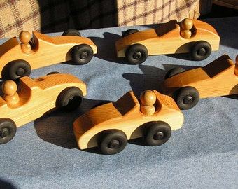 Wooden Car with Driver Toy, Varnished