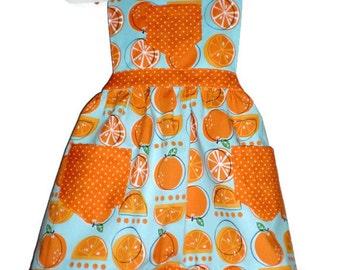 Children's Apron, Baking Apron, Orange Slice Apron, Kids Apron, Girls Apron, Toddler Apron, Little Girls Apron, Handmade Apron, Orange Apron