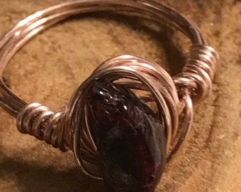 Raw garnet wire wrapped pink copper
