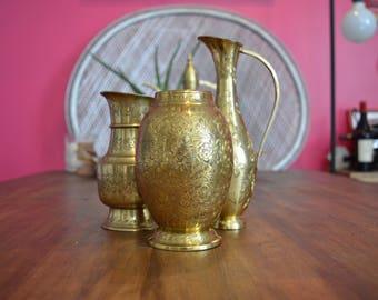 Set of Three Brass Vases (Gorgeous Vintage Pieces!)