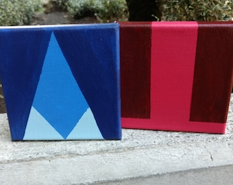 """2 5""""x5"""" Steven Universe, Ruby and Sapphire, Minimalist Paintings"""