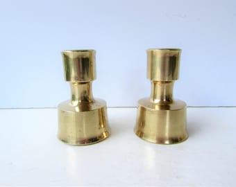 Mid Century Modern Brass Dansk Candleholders - Solid Brass Dansk - Scandinavian Design - Made in Finland - Modern Clean Lines -