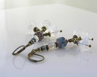Czech Flower Earrings, Cascading Flower Earrings, Flower Cluster Earrings, Czech Bead Earrings, Beaded Earrings, Flower Jewelry, E2257