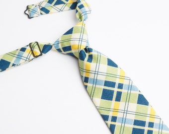 Blue & Green Plaid Neck Tie With Adjustable Strap