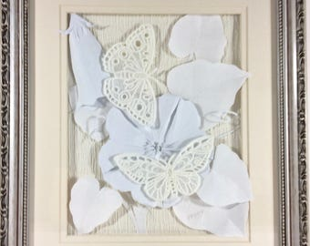 Moonflower Moths - Embossed Paper 3D Sculpted Wall Hanging