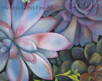 "Succulent Original Art by Victoria Gobel - Giclee Gallery Wrapped on Boxed Canvas - 36"" x 48"""