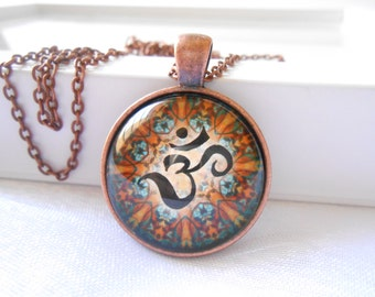 Om Yoga necklace Zen jewelry Bohemian Yoga Pendant Picture pendant Yoga Spiritual jewelry Glass pendant  Mother's day Unique Gift for her