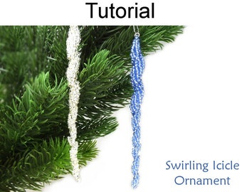 Holiday Beading Pattern - Beaded Icicle Ornament Tutorial - Christmas Decorations - Simple Bead Patterns - Swirling Icicle Ornament #27173