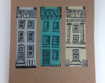 Georgian house block printed cards, set of 3 handprinted on eco-friendly 100% recycled card
