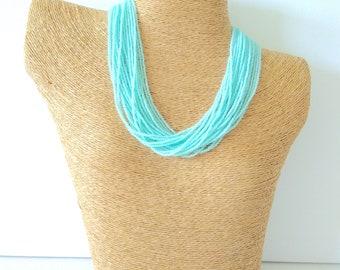 Mint necklace, aqua necklace, light green necklace, light teal, statement necklace, boho, multistrand, beaded necklace, chunky aqua necklace