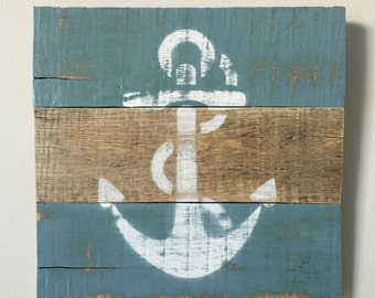 "Two-Tone Anchor Sign - Reclaimed Pallet Wood - Nautical Wall Art  ~12"" x ~12"""