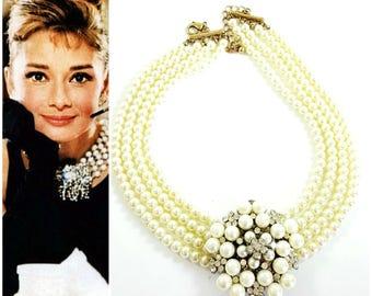 Audrey Hepburn Cream Pearl Necklace X4FjHb