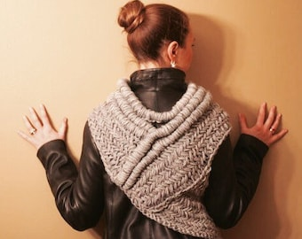 Katniss inspired cowl vest scarf armor, knit, huntress cowl in the original gray READY TO SHIP
